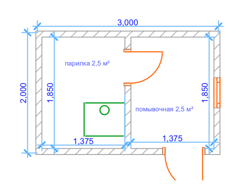 План бани 2 х 3 метра