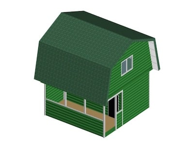Каркасный квадратный дом 5 х 5 м с верандой и мансардой