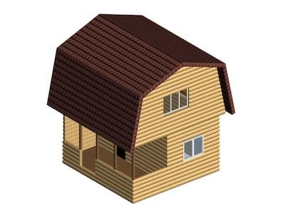 Дачный дом 5 х 5 м с мансардой и незастекленной верандой