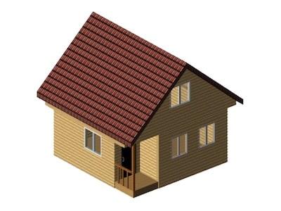 Дачный дом 5 х 5 м с угловым крылечком и мансардным этажом