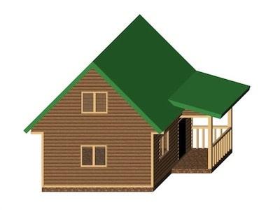 Каркасный дом 5 х 5 м с мансардой и крыльцом-верандой