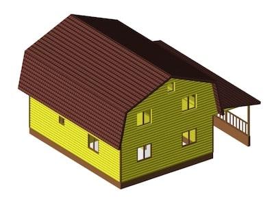 Просторный жилой дом 7,5 х 10 м с верандой под навесом