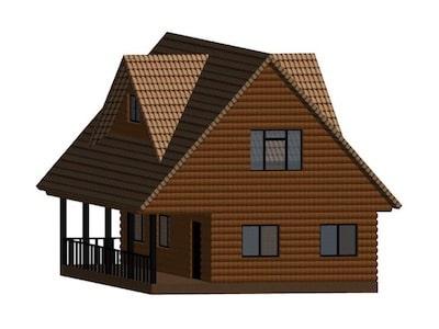 Жилой дом 7 х 9 м с верандой, мансардой и слуховыми окнами