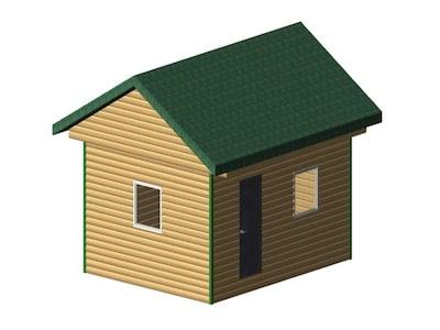 Небольшой дом для сада и огорода 5 х 4 м с двускатной крышей
