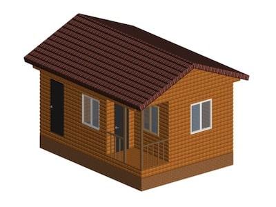 Садовый одноэтажный дом 5*7 м с хозблоком и санузлом