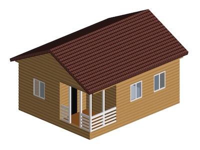 Жилой одноэтажный дом 8 х 10 м с открытым крыльцом